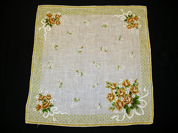Vintage Printed Linen Handkerchief with Yellow Roses