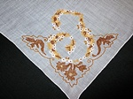 Vintage Linen Handkerchief Monogrammed T in Brown