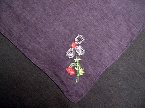 Vintage Embroidered Black Mourning Handkerchief