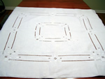 Vintage Linen Cutwork and Embroidered Tablecloth