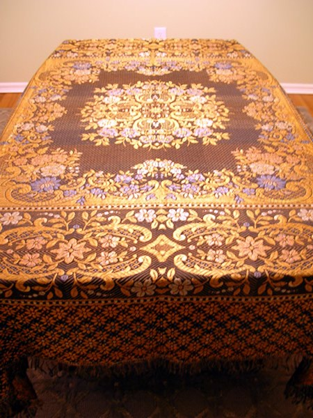 Large Vintage Italian Brocade Tablecloth