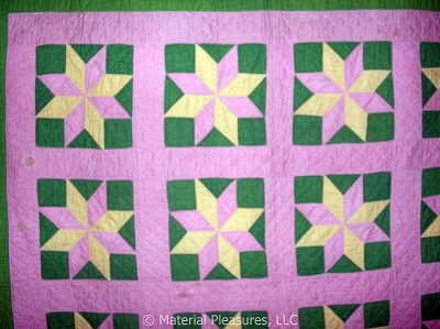 Antique Quilt c1870s Star of LeMoyne in Cheddar Pink Green - Bars Back