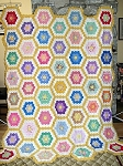 c1930s Vintage Quilt Top Hand Pieced Grandmother's Flower Garden w/ Yellow Path