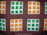 Antique Quilt c1890s Cluster of Stars in 9 Patch - Orange and Green - Graphic!