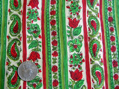 Vintage Quilt Fabric with Tulips and Paisleys