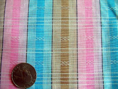 Vintage Pink and Blue Stripe Fabric 4.5 yards