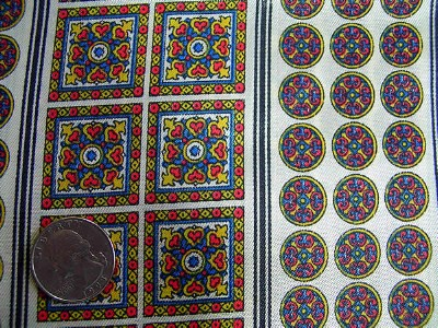Vintage Scarf Fabric with Medallions
