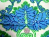 Vintage Waverly Fabric With Green and Blue Exotic Leaves
