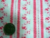 Vintage Cotton Fabric Pink Flowers Stripe