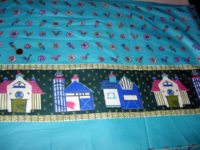 Vintage 1950s Border Print Fabric with Roosters and Barns