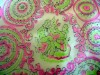 Retro Sheer Fabric with Pink and Green Colonial Scenes
