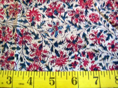 Vintage Cotton Remnant Hand Blocked with Vegetable Dyes