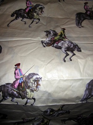 Vintage Cotton Chintz Fabric with Gentlemen on Horses