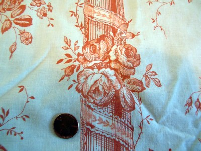 Vintage Toile Fragment with Birds and Pillars