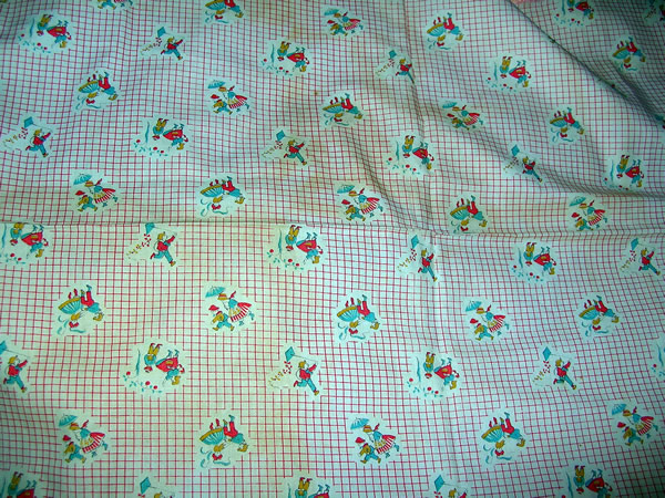 Vintage quilt fabric childrens novelty children playing for Childrens quilt fabric