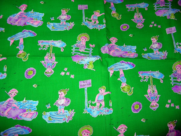 Retro quilt fabric green with children for Childrens quilt fabric
