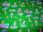 Retro Quilt Fabric Green with Children