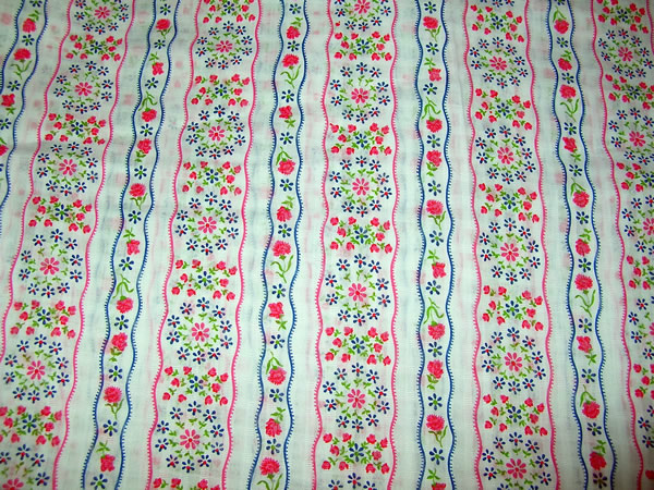 Vintage Cotton Voile Fabric Pink and Blue Flowers on Ribbon Stripe