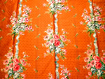 Antique French Fabric Sample Peach with Flowers