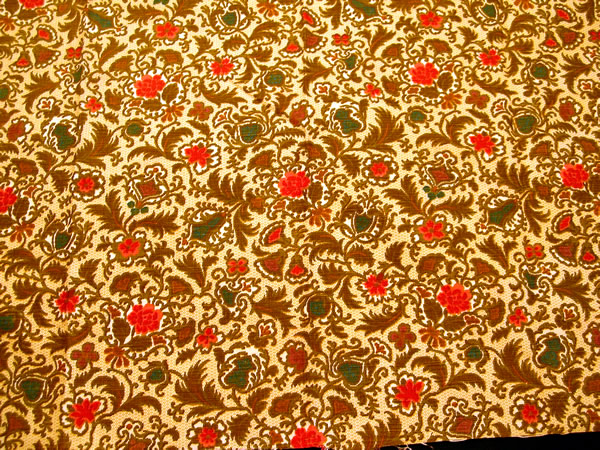 Antique French Fabric Sample Small Jacobean Flowers