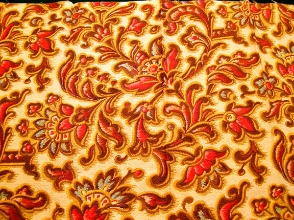 Antique French Fabric Sample Large Jacobean Flowers