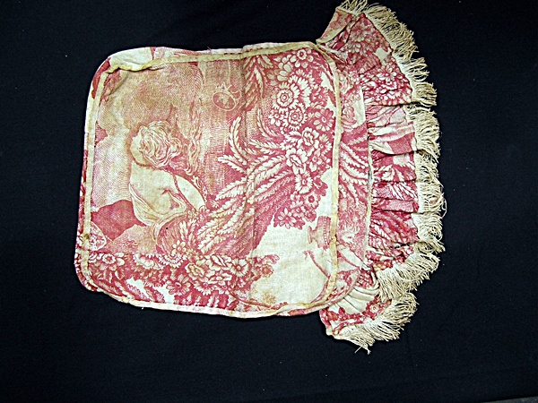 Antique Red Toile Baby Pillow or Doll Mattress