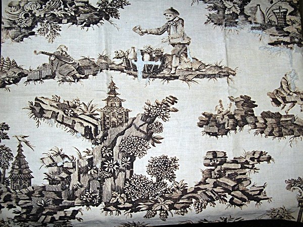 Antique 18th Century Chinoiserie Toile Fabric