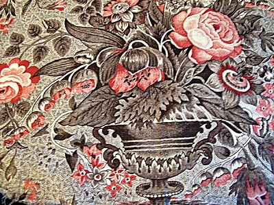 c1825 Antique Cotton Chintz Fabric Urn with Flowers