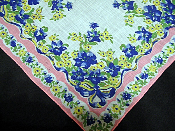 Vintage Printed Handkerchief with Bright Flowers