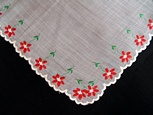 Vintage Embroidered Christmas Handkerchief with Poinsettias