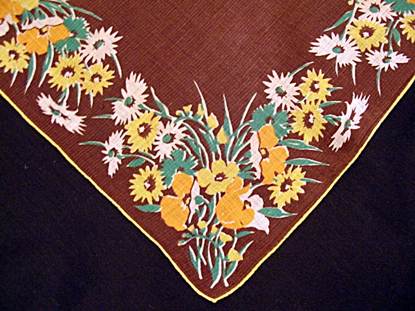 Vintage Printed Linen Handkerchief Brown with Flowers