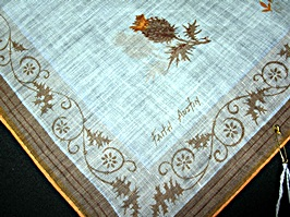 Vintage Printed Linen Handkerchief Pat Richard Bird Nests in Trees