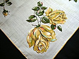 Vintage Printed Handkerchief by Colette with Yellow Roses