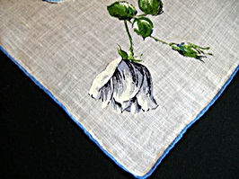 Vintage Printed Handkerchief by Colette with Blue Roses