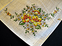 Vintage Printed Handkerchief with Yellow Flowers