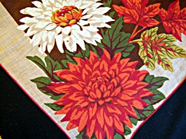 Vintage Printed Handkerchief with Large Autumn Flowers and Leaves