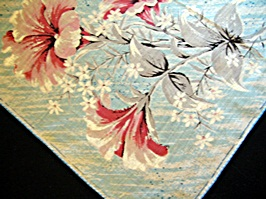 Vintage Printed Handkerchief with with Pink and Grey Flowers
