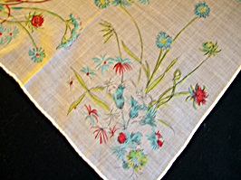 Vintage Printed Handkerchief with Stylized Flowers