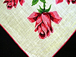 Vintage Printed Linen Handkerchief with Red Roses by Burmel