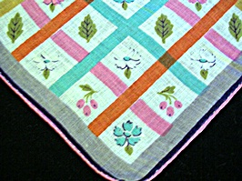 Vintage Printed Linen Handkerchief with Bright Plaid and Flowers