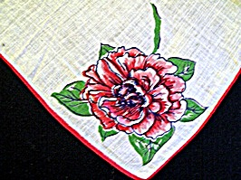 Vintage Printed Handkerchief With Red Mums
