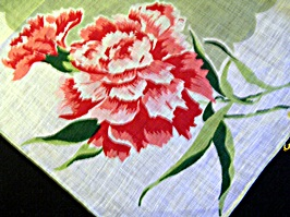 Vintage Printed Linen Handkerchief Red Mums on Pale Green