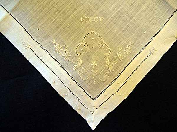 Vintage Linen Handkerchief Embroidered MECF