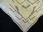 Vintage Linen Drawnwork and Embroidered Handkerchief