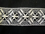 Vintage Bobbin Insertion Lace with Wheatears in a Lattice