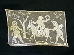Vintage Figural Filet Lace with Angels Riding  an Animal