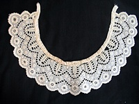 Antique Circa 1850 Cutwork Collar with Eyelets and Embroidery
