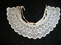 Antique Circa 1850 Broderie Anglais Collar with Leaves