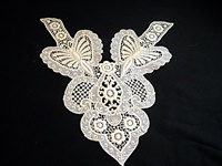 Vintage Chemical Lace Applique or Fronstspiece with Butterlfies