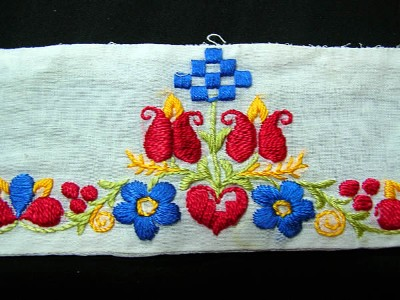 Vintage Hand Embroidered Trim with Red Tulips